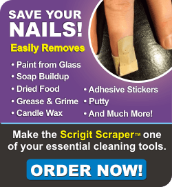 Save your nails! Easily removes paint from glass, soap buildup, dried food, grease & grime, candle wax, adhesive stickers, putty, and much more! Make the Scrigit Scraper one of your essential cleaning tools. Order now!